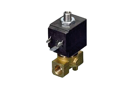 3-way solenoid valves, direct control, brass or stainless steel body.